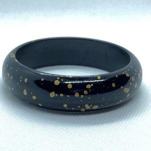 Vintage Black & Gold Speckled Bracelet